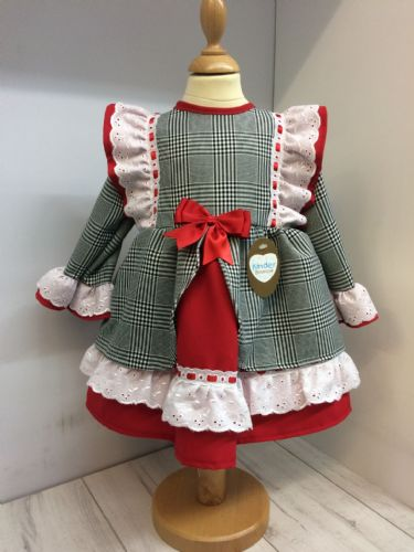 Dog Tooth Dress with Broderie Anglaise Frill